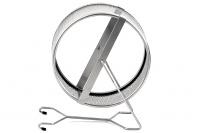 Střední kovový kolotoč pro hlodavce – obvod síto. Materiál nerez, průměr kolotoče 15 cm, šířka 9,5 cm. Kolotoč lze postavit nebo zavěsit (2).