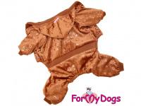 FMD VELOR BROWN je teplejší velurový overal pro psy i fenky se zlatým potiskem. Zapínání na druky na břiše, pružný pas i manžety, velurová podšívka.