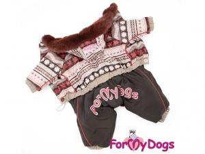 Obleček pro psy – hnědý zimní overal od FMD (4)