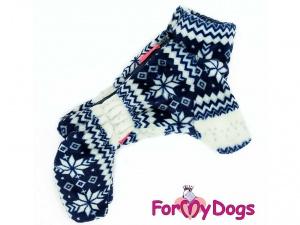 Obleček pro psy – modrobílý zimní overal od FMD (2)