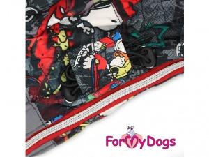 Obleček pro psy – šedý zimní overal For My Dogs SNOOPY, detail