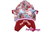 Obleček pro fenky – teplý zimní overal FLOWERS od ForMyDogs z voduodpuzujícího materiálu s plyšovou podšívkou. Zapínání na druky na bříšku (3).