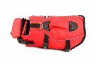 Jednoduchá plovací vesta pro psy vyrobená z pevných a odolných materiálů. Sytě červená pro dobrou viditelnost, zapínání na přezky a suchý zip. (3)