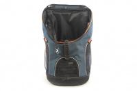 Batoh na psa s nosností 8 kg. Polstrovaná zádní strana, pevné skořepinové dno, hrudní pás pro rozložení váhy, vyjímatelná podložka. Barva modro-černá. (3)