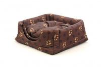 Multifunkční pelíšek pro psy sloužící jako uzavřená bouda nebo pelíšek s okrajem. Barva hnědá se vzorem. (2)