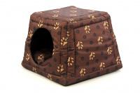 Multifunkční pelíšek pro psy sloužící jako uzavřená bouda nebo pelíšek s okrajem. Barva hnědá se vzorem. (5)