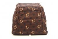 Multifunkční pelíšek pro psy sloužící jako uzavřená bouda nebo pelíšek s okrajem. Barva hnědá se vzorem. (8)