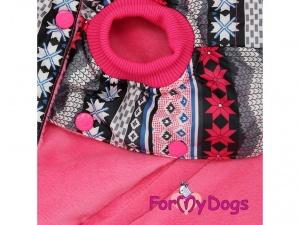 Obleček pro psy i fenky – růžová zimní bunda For My Dogs, detail (2)