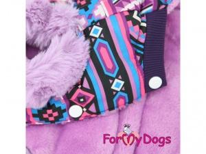 Obleček pro fenky – fialová zimní bunda od FMD, detail (2)