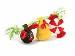 Hračka pro psy z měkoučkého materiálu kombinovaného s provazem