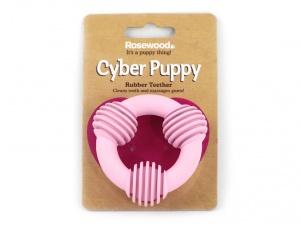 Gumová žvýkací hračka vhodná pro štěňata a malá i střední plemena psů, růžová (2)