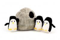 Plyšová hračka pro psy – iglů se třemi tučňáky. Příjemný měkoučký materiál, ideální pro štěňata a menší plemena psů. (3)