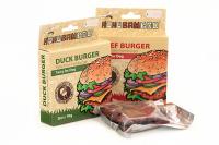 Masová pochoutka pro psy od HUHUBAMBOO – kachní hamburgery.
