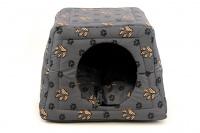 Multifunkční pelíšek pro psy sloužící jako uzavřená bouda nebo pelíšek s okrajem. Barva šedá. (5)