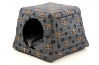 Multifunkční pelíšek pro psy sloužící jako uzavřená bouda nebo pelíšek s okrajem. Barva šedá. (6)