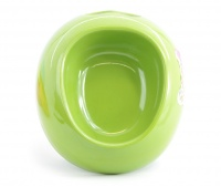 Melamínová miska pro malé psy vhodná na vodu i krmivo s praktickým výřezem pro snadnou manipulaci. Materiál plast, protiskluzová, barva zelená.