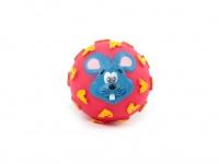 Gumový míček pro psy vydávající legrační zvuk. Průměr míčku 10 cm, mix barev a vzorů (3)