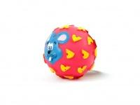 Gumový míček pro psy vydávající legrační zvuk. Průměr míčku 10 cm, mix barev a vzorů (4)