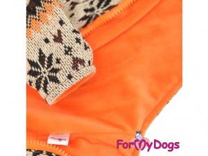 Obleček pro psy i fenky – světle hnědá mikina se vzorem od For My Dogs, detail (2)