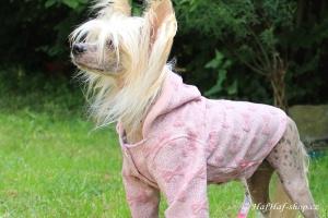 FOTO – Oblečky pro psy i fenky – růžová mikina z měkké pleteniny PINK BOW (2)