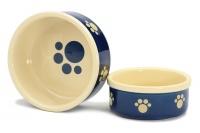 Stylová keramická miska pro psy Blue Beige Paw vhodná na vodu i krmivo. Možnost mytí v myčce, výběr velikostí (2).