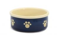 Stylová keramická miska pro psy Blue Beige Paw vhodná na vodu i krmivo. Možnost mytí v myčce, výběr velikostí (3).
