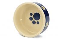 Stylová keramická miska pro psy Blue Beige Paw vhodná na vodu i krmivo. Možnost mytí v myčce, výběr velikostí (4).