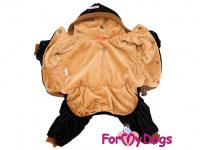 Obleček pro psy i fenky – teplejší overal BLACK TAN STARS od ForMyDogs z měkké pleteninové látky. Zapínání na druky na bříšku, pružné lemy, kapuce. (2)