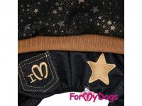 Obleček pro psy i fenky – teplejší overal BLACK TAN STARS od ForMyDogs z měkké pleteninové látky. Zapínání na druky na bříšku, pružné lemy, kapuce. (3)