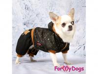 Obleček pro psy i fenky – teplejší overal BLACK TAN STARS od ForMyDogs z měkké pleteninové látky. Zapínání na druky na bříšku, pružné lemy, kapuce. (4)