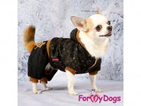 Obleček pro psy i fenky – teplejší overal BLACK TAN STARS od ForMyDogs z měkké pleteninové látky. Zapínání na druky na bříšku, pružné lemy, kapuce. (5)