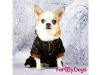 Obleček pro psy i fenky – teplejší overal BLACK TAN STARS od ForMyDogs z měkké pleteninové látky. Zapínání na druky na bříšku, pružné lemy, kapuce. (6)