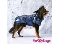 Obleček pro psy i fenky malých až středních plemen – stylová pláštěnka BLUE od ForMyDogs. Zapínání na sponu, hladká podšívka. Barva modrá. (FOTO 2)