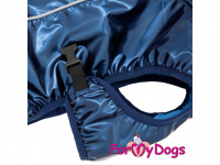 Obleček pro psy i fenky malých až středních plemen – stylová pláštěnka BLUE od ForMyDogs. Zapínání na sponu, hladká podšívka. Barva modrá. (4)