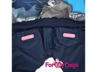 Obleček pro psy – teplý zimní overal BLUE CAMO od For My Dogs z voduodpuzujícího materiálu. Jeansové kalhoty, kožešinová podšívka, zateplený sinteponem. (2)
