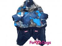 Obleček pro psy – teplý zimní overal BLUE CAMO od For My Dogs z voduodpuzujícího materiálu. Jeansové kalhoty, kožešinová podšívka, zateplený sinteponem. (3)