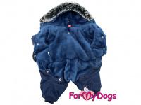 Obleček pro psy – teplý zimní overal BLUE CAMO od For My Dogs z voduodpuzujícího materiálu. Jeansové kalhoty, kožešinová podšívka, zateplený sinteponem. (4)