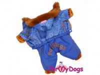 Obleček pro psy – teplý zimní overal BLUE DENIM FUR od For My Dogs z voduodpuzujícího materiálu. Jeansové kalhoty, kožešinová podšívka, zateplený sinteponem.