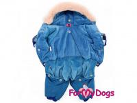 Obleček pro psy – teplý zimní overal BLUE FLOWERS od For My Dogs z voduodpuzujícího materiálu. Plyšová podšívka, zateplený sinteponem. (2)