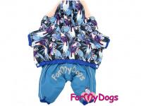Obleček pro psy – teplý zimní overal BLUE FLOWERS od For My Dogs z voduodpuzujícího materiálu. Plyšová podšívka, zateplený sinteponem. (3)