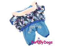 Obleček pro psy – teplý zimní overal BLUE FLOWERS od For My Dogs z voduodpuzujícího materiálu. Plyšová podšívka, zateplený sinteponem.