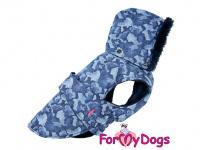 Obleček pro psy i fenky od FMD – zimní bunda CAPARISON BLUE z voduodpuzujícího materiálu. Bunda je zateplená sinteponem a má kožešinovou podšívku. (3)