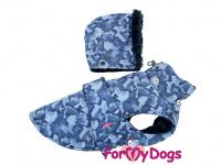 Obleček pro psy i fenky od FMD – zimní bunda CAPARISON BLUE z voduodpuzujícího materiálu. Bunda je zateplená sinteponem a má kožešinovou podšívku. (2)