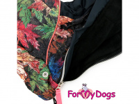 Obleček pro psy – zateplený zimní overal COLOURFUL LEAVES od ForMyDogs. Vylepšené zapínání na zádech, odnímatelná kapuce, flísová podšívka. (7)