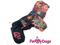 Obleček pro psy – zateplený zimní overal COLOURFUL LEAVES od ForMyDogs. Vylepšené zapínání na zádech, odnímatelná kapuce, flísová podšívka. (2)