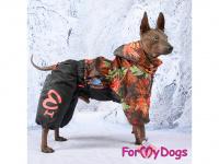 Obleček pro psy – zateplený zimní overal COLOURFUL LEAVES od ForMyDogs. Vylepšené zapínání na zádech, odnímatelná kapuce, flísová podšívka. (10)