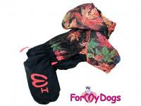 Obleček pro psy – zateplený zimní overal COLOURFUL LEAVES od ForMyDogs. Vylepšené zapínání na zádech, odnímatelná kapuce, flísová podšívka.