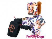 Obleček pro psy – sinteponem zateplený zimní overal DOGS od ForMyDogs. Vylepšené zapínání na zádech, odnímatelná kapuce, plyšová podšívka. (3)