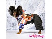 Obleček pro psy – sinteponem zateplený zimní overal DOGS od ForMyDogs. Vylepšené zapínání na zádech, odnímatelná kapuce, plyšová podšívka. (7)