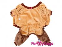 Obleček pro psy i fenky – teplý overal LOVE BROWN od ForMyDogs z měkoučkého materiálu. Zapínání na druky na bříšku, pružné lemy. (2)